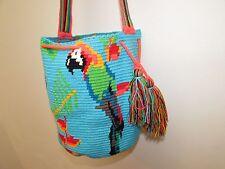 COLOMBIA WAYUU PARROTS Authentic Beautiful Handmade Mochila Bag - Multicolor