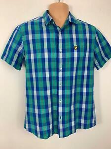Herren-Lyle-amp-Scott-Blau-amp-Gruen-Kariertes-Kurzaermeliges-Freizeithemd-Groesse-M-Medium