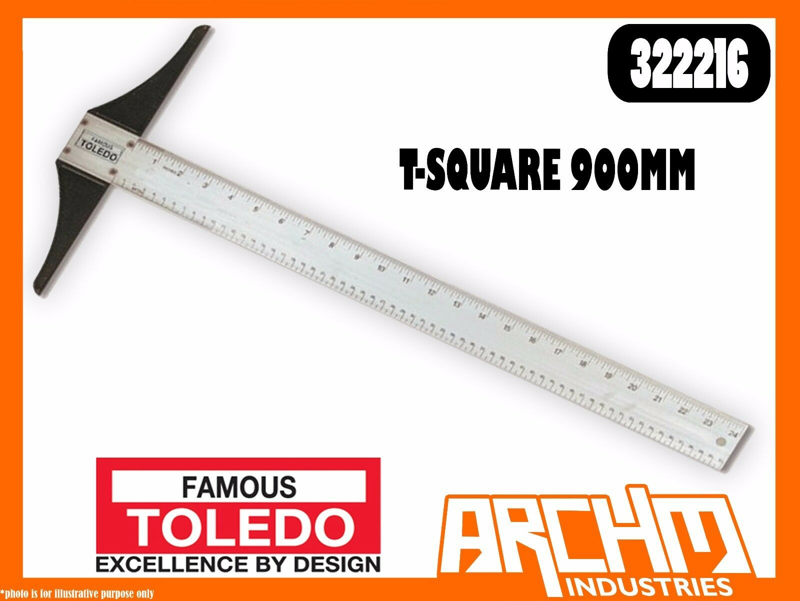 TOLEDO 322216 - T-SQAURE - 900MM - MEASURING TECHNICAL DRAWINGS ACCURATE