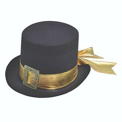Adulto Inglese Antico Vittoriano Cappello Nero Cintura D'oro Accessorio Costume Set-mostra Il Titolo Originale Facile Da Usare