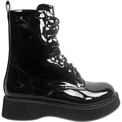 Women Ladies Chunky Sole Platform Wedge Lace Up Ankle Boots Goth Punk Shoes Size