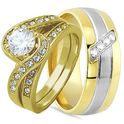 3 PCS HIS AND HERS .925 STERLING SILVER Gold WEDDING BRIDAL MATCHING RING CZ SET