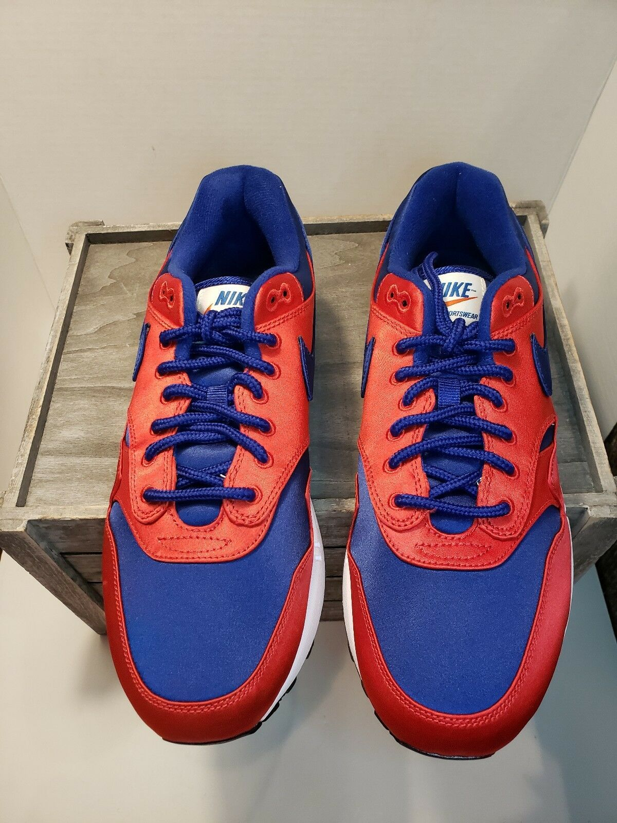 Nike Air Max 1 SE Satin Pack Mens AO1021-600 Red Royal Running shoes Size 10