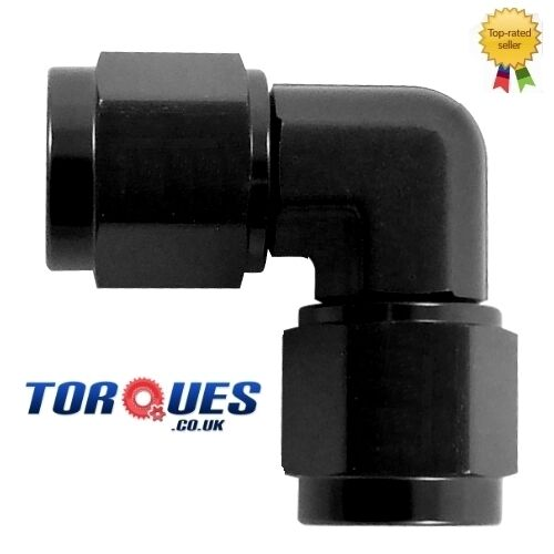 AN 4 90 Degree Female to Female Forged Adapter BLACK