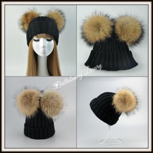 1 di 8 Cappello Nero Noir Black Vera Pelliccia Doppio Pon Pon Pelliccia  Donna Hat Fur 2b8307a01e8d
