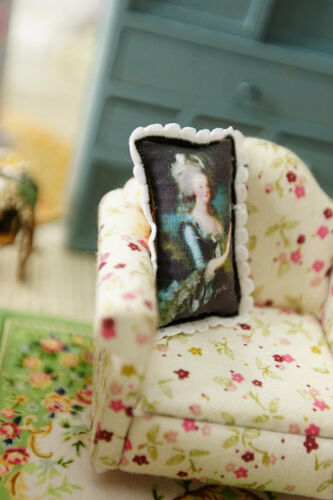 Victorian Lady Black Color 1:12 Scale Miniature Pillow For Dollhouse