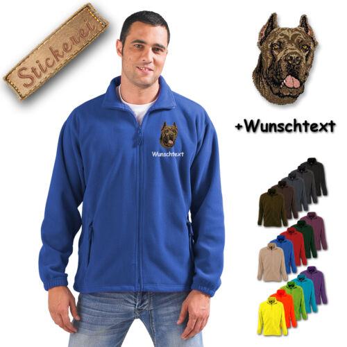 Fleece Jacke bestickt Stickerei Hund Cane Corso M1 + Wunschtext