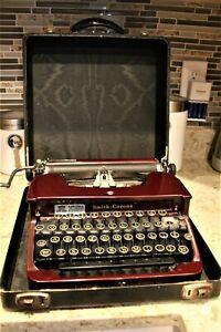 Vtg 1931 Smith Corona Portable Manual Typewriter Burgundy Color Model S-C + Case