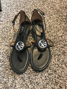Details about Coach black strappy sandal, small wedge heel