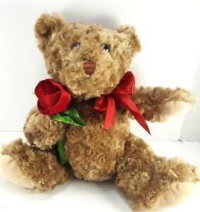 Valentine-Brown-Teddy-Bear-Red-Rose-Bow-Plush-Stuffed-Animal-Soft-Dan-Dee-13-034