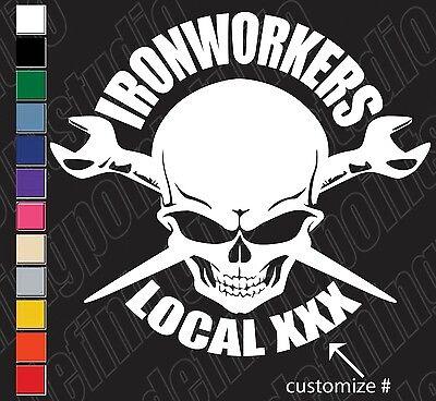 Union Ironworkers Skull Spud Wrench Customizable Vinyl