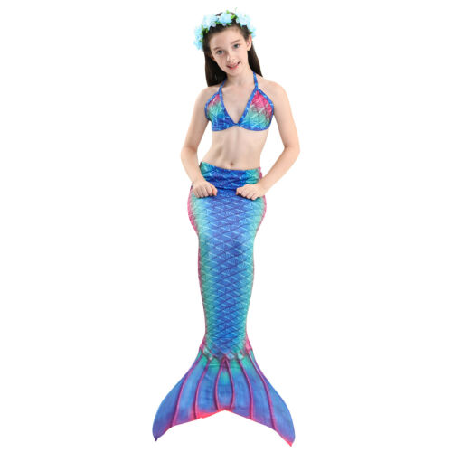 Kids Girls mermaid  swimming costume tail swimmable with//no monofin fin costume