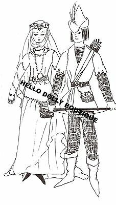 "11 1/2 "" Lady Marian and 12"" Robinhood Clothdoll pattern clothes Barbie/Ken"