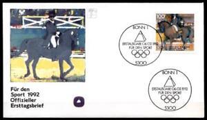 Dressage à Cheval. Olympiques D'été Jeux 1992, Barcelone. Fdc (1). Rfa 1992-afficher Le Titre D'origine Marchandises De Haute Qualité