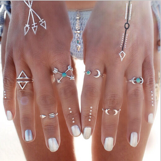 6 Pcs/Set Turquoise Arrow Moon Statement Midi Rings Women Jewelry HOT CAMG1