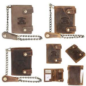 Herren-Geldboerse-Biker-Brieftasche-mit-Kette-Portemonnaie-mit-RFID-Blocker-Leder