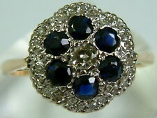 STUNNING VINTAGE 1960'S 18CT YELLOW GOLD SAPPHIRE DIAMONDS FLOWER CLUSTER RING