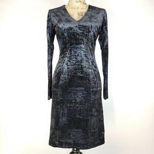 NWT $138 Tahari Size 2 Womens Sheath Dress Half Zip Slip Off Long Sleeve Navy