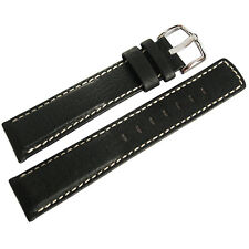 22mm Hirsch Mariner Mens Black Waterproof Leather White Stitch Watch Band Strap