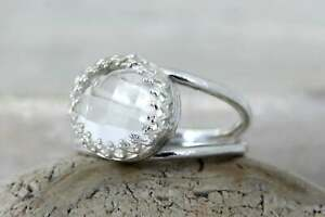 Crystal-Quartz-925-Sterling-Silver-Gift-Reflective-Ring-Natural-Bride-Gift-Sale