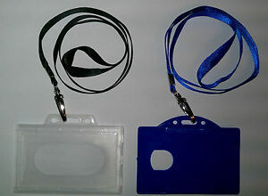 ID-badge-Holder-amp-Satin-Lanyard-ID-Card-Holder-2-colours-Available-Black-Blue