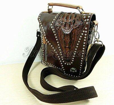 Men's Punk Rivets Alligator Genuine Leather  Messenger shoulder bag wallet purse