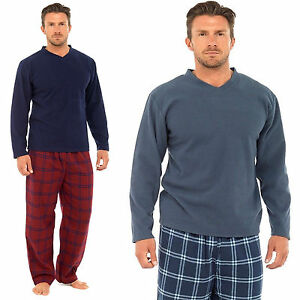 Mens-Fleece-Pyjamas-Set-Thermal-Warm-eece-Bottoms-Pjs-Lounge-cotton-and-fleece