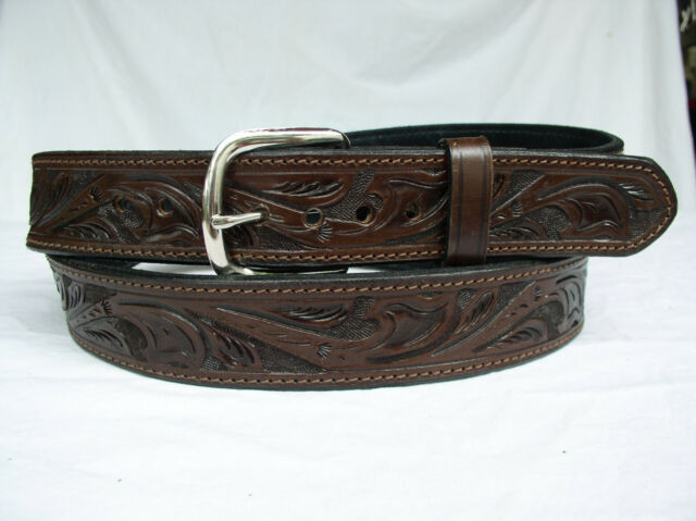 """Belt Brown Floral 2 Ply Lined 1.5"""" Heavy Duty Leather Gun Carry Holster"""
