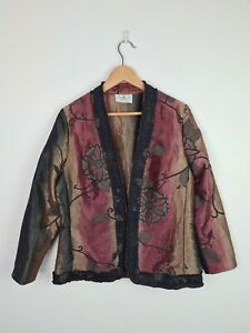 Pins & Needles by F&I Metallic Floral Jacket Women's Size 12 AU MADE Ruched Trim