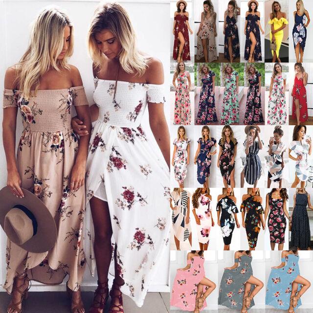 UK Women Summer Off Shoulder Boho Floral Party Evening Beach Holiday Long Dress