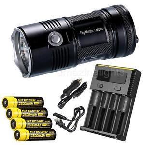 NiteCore-TM06S-4000-lumens-Flashlight-w-4x-2300mAh-18650-batteries-amp-i4-Charger