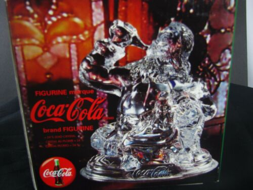 Coca Cola Lead Crystal Santa Figurine 1997 Made in France Christmas Gift