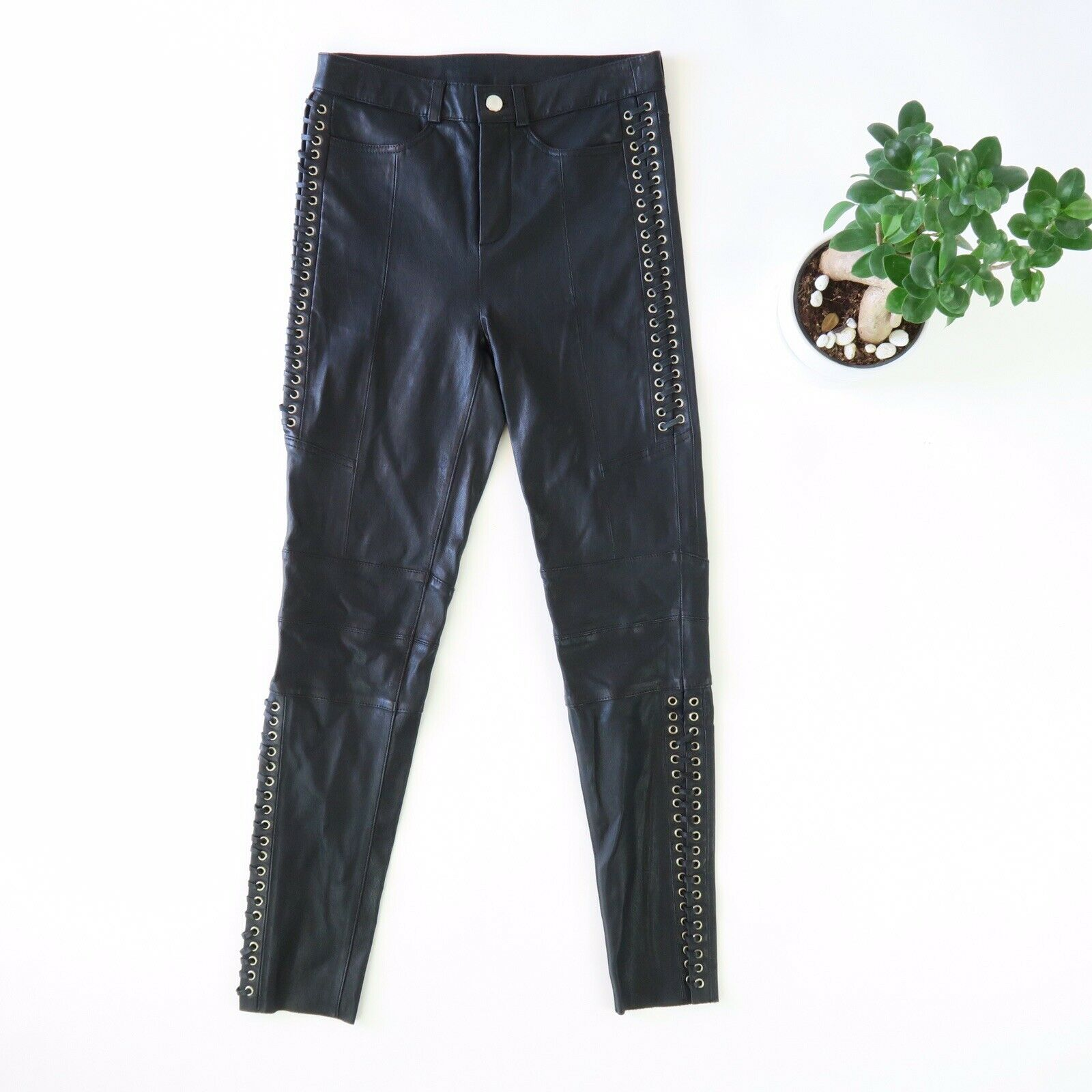 TOPSHOP Real Leather Lace-Up Biker Pants - Women's Size US 4