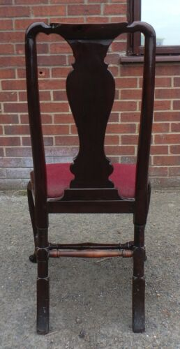 Rare Queen Anne George I period antique solid red walnut side hall bedroom chair