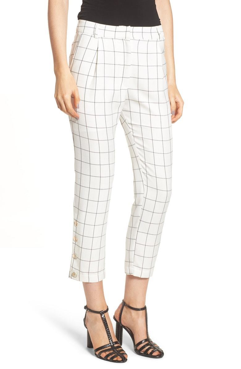 135 CHRISELLE X J.O.A. WOMEN WHITE PLAID HIGH-WAIST SKINNY TROUSER PANTS SIZE M