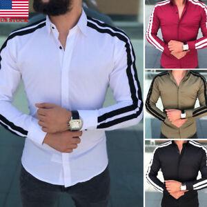 US-New-Men-Fashion-Luxury-Casual-Stylish-Slim-Fit-Long-Sleeve-Dress-Shirts