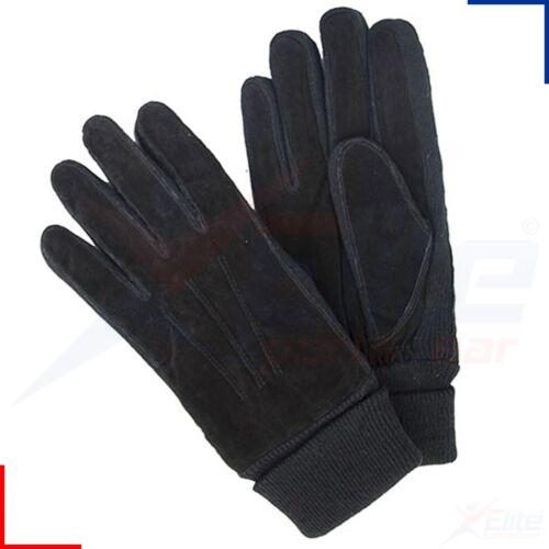 Homme en Daim Chaud Hiver Gants Noir Classique Polaire Doublé Stretch Tricot Poignet