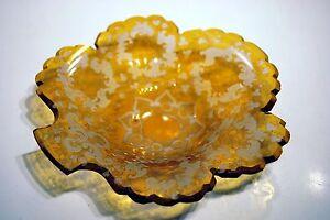 Coupelle Coquille Vide-poche Forme Feuille Cristal De Boheme Jaune Miel Xixè N3cmhofw-07224556-191421325