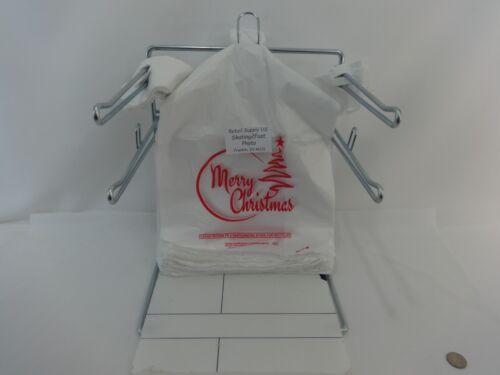 "100 Qty Merry Christmas Plastic T-Shirt Shopping Bags Handles 11.25/"" x 6/"" x 21/"""