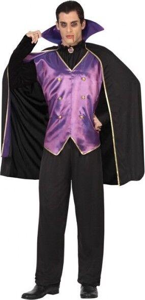 Déguisement NOIR et VIOLET Homme Vampire Dracula XL  Halloween Gothique NEUF