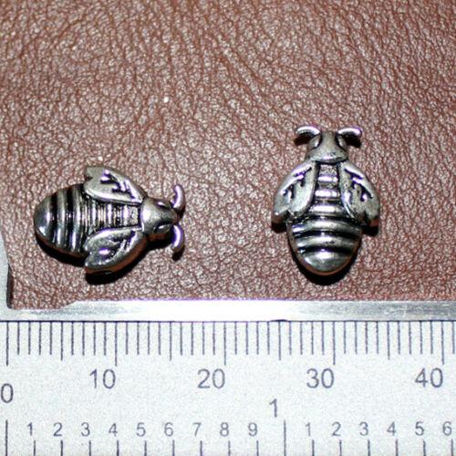 """4 Perles Métal /""""ABEILLES/"""" 10 X 10 mm Métal ARGENTE Trou 2 MM"""