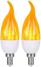 E12 Base 2W 1800K 4 Pack LED Simulated Fire Flicker Flame Candelabra Light Bulb