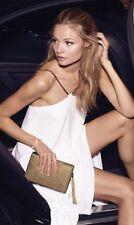 EXPRESS White Herringbone GoldTone Chain Strap Hi-Lo Halter Dress - Medium #f411