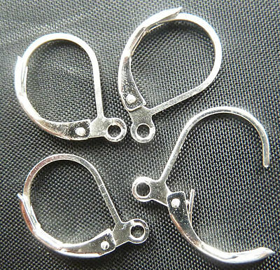 Wholesale Free Ship 300pcs silver plated earring clasps 17x11mm
