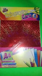 8x-A4-Holographic-Card-Colours-Gold-Pink-Green-Silver-Craft-Paper-Metallic-UK