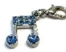 SILVER MUSICAL NOTES WITH BLUE RHINESTONES CLIP-ON CHARM FOR BRACELET- NEW