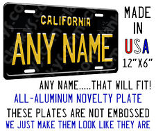 Personalized California Black Plate on an Aluminum License Plate - Made in USA