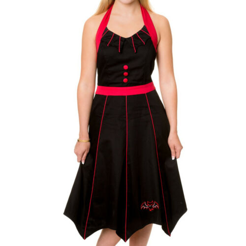 Banned Gothic Goth Horror Halloween Hexenkleid Kleid Fledermaus Rot