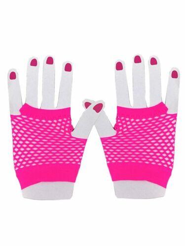 Adult Hot Pink Fish Net Short Gloves