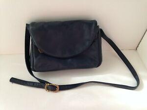 Vintage-STONE-MOUNTAIN-USA-Navy-Blue-Leather-Purse-Handbag-Shoulder-Bag